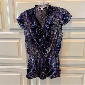 Sheer Blouse Purple Black Xhiliration L Ruffles